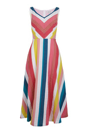 Margot Rainbow Stripe Midi Dress