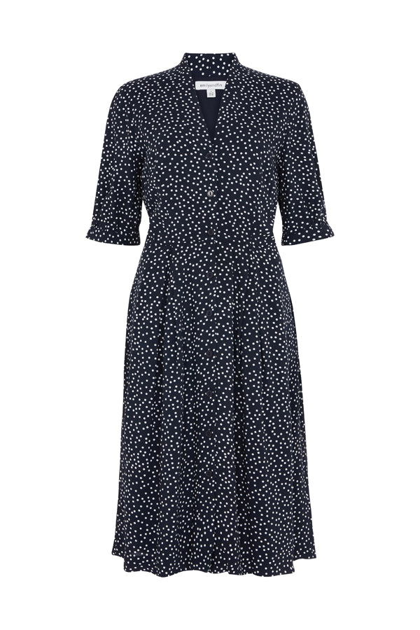 Stella Navy Spot Shirt Dress