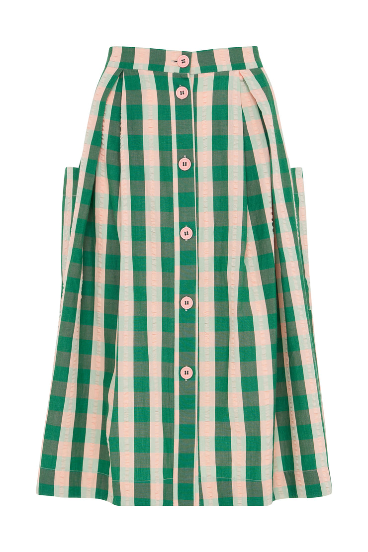 Viola Botanical Plaid Skirt
