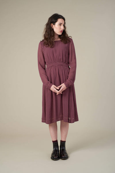 Amy Burgundy Mini Spot Dress