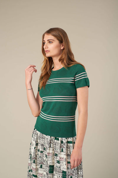 Bea Green Stripe Jumper