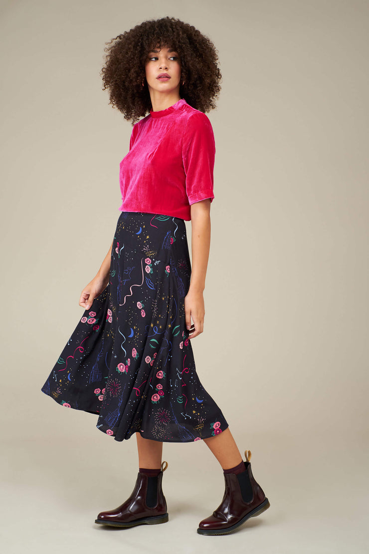 Dree Party Print Midi Skirt