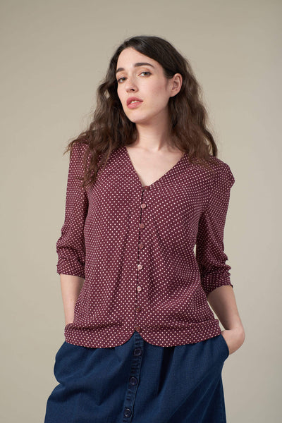 Felicity Burgundy Mini Spot Blouse