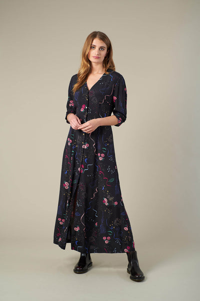 Felicity Party Print Maxi Shirt Dress