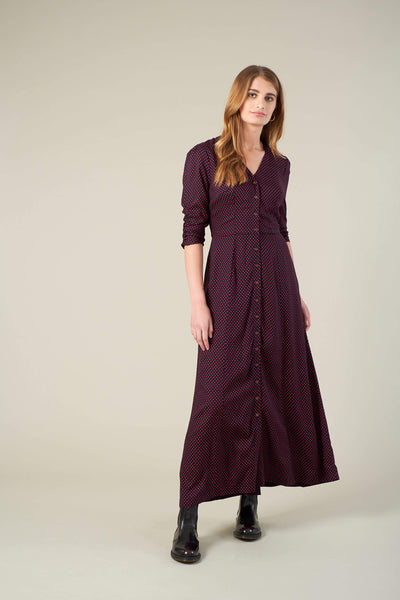Felicity Fuchsia Mini Spot Maxi Shirt Dress
