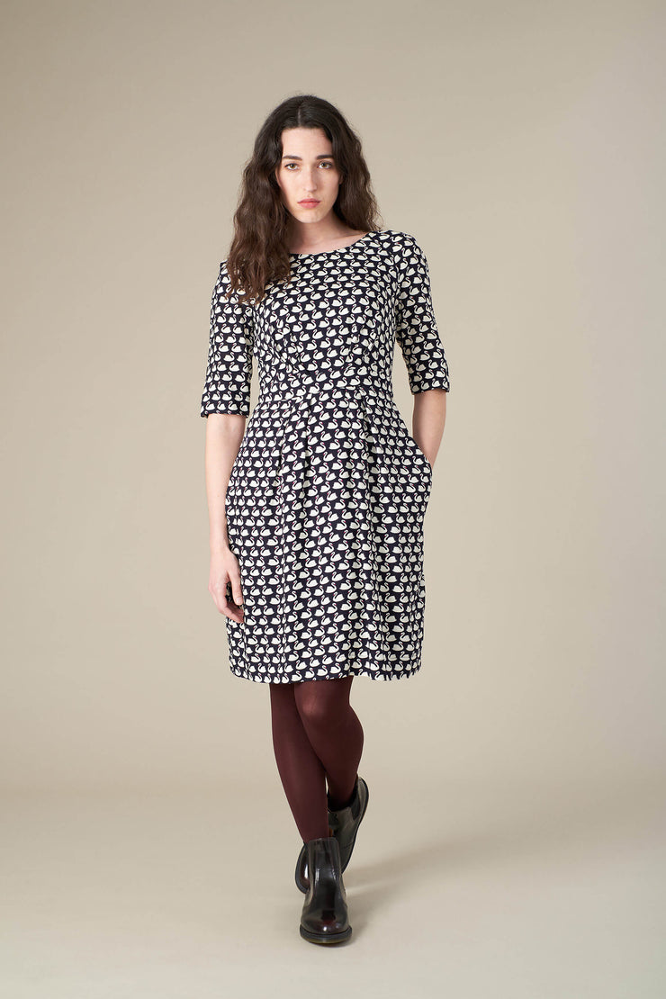 Hattie Navy Swans Dress