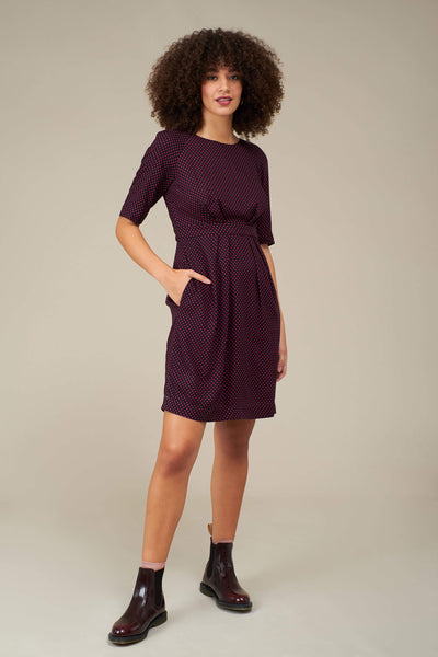 Hattie Fuchsia Mini Spot Dress