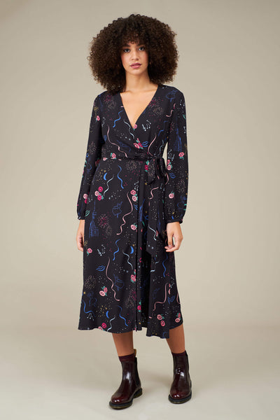 Luna Party Print Wrap Dress