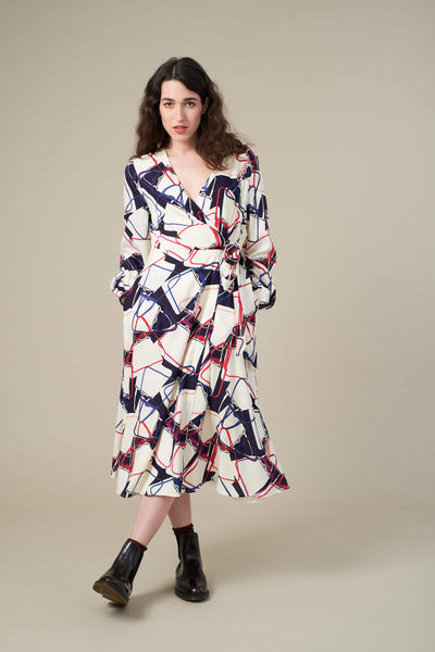 Luna Abstract Handbag Wrap Dress