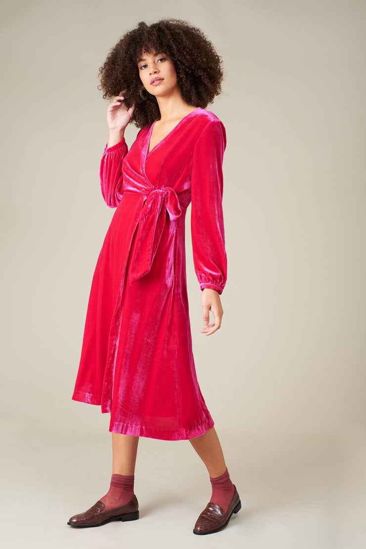 Luna Fuchsia Velvet Wrap Dress