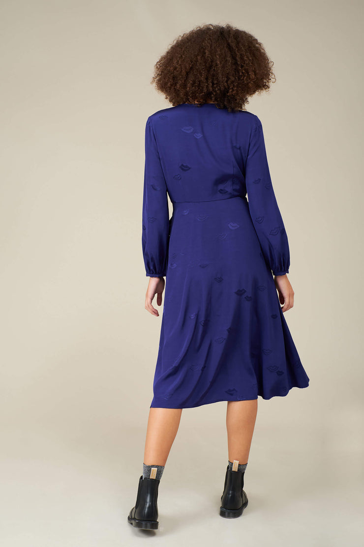 Luna Lips Jacquard Wrap Dress