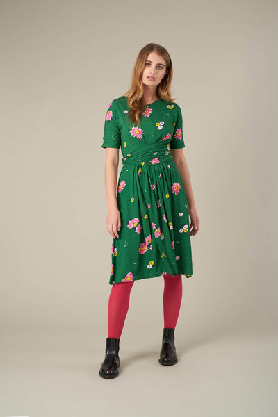 Mimi Green Autumn Gerberas Dress