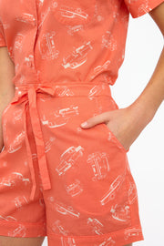 Phoebe Vintage Coral Car Cotton Pyjama