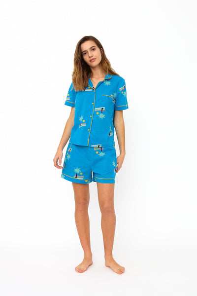 Phoebe Blue Sunset Island Cotton Pyjama