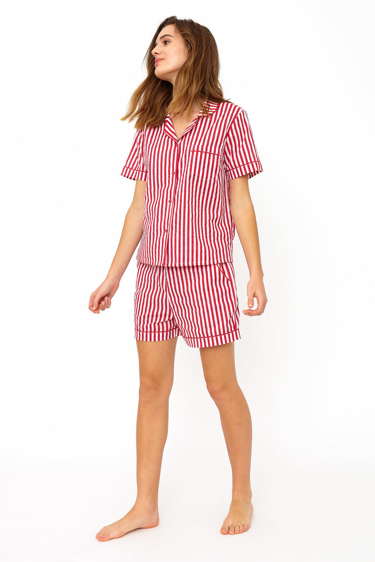 Phoebe Red & White Stripe Cotton Pyjama