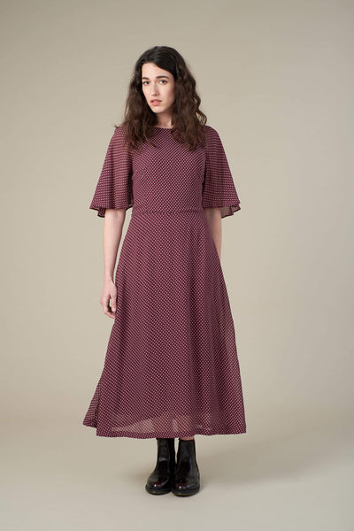 Suzanna Burgundy Mini Spot Midi Dress