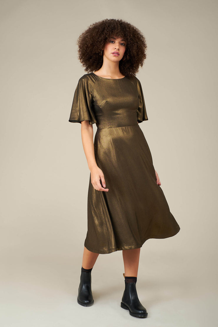 Suzanna Gold Dust Midi Dress