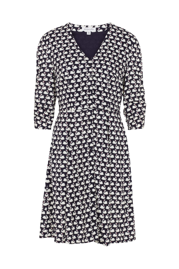 Felicity Navy Swans Shirt Dress
