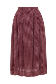 Faye Burgundy Mini Spot Midi Skirt