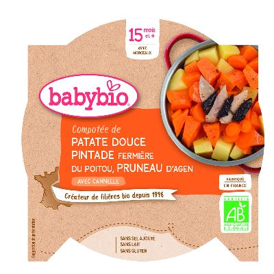 Assiette  Patate Douce Pintade 260g Babybio