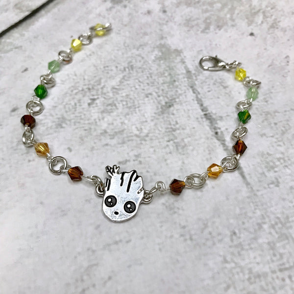 Groot Inspired Crystal Bracelet