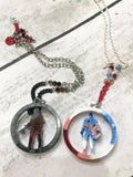 Winter Solider or Captain America Resin Circle Necklace