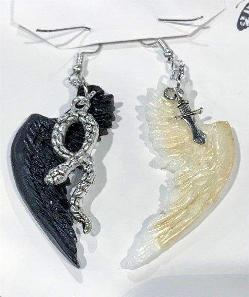 Crowley and Aziraphale wing earrings