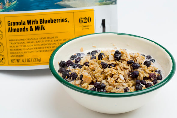 Granola with Blueberries, Almonds & Milk