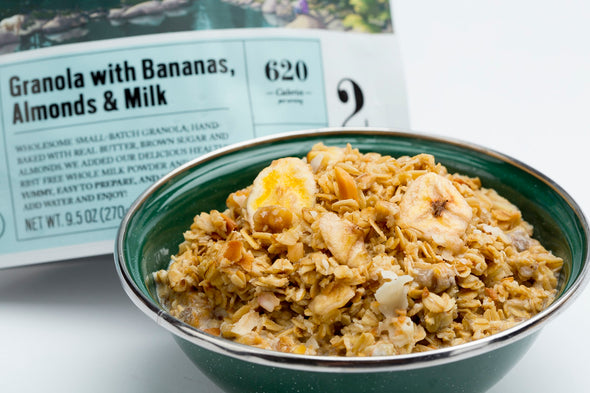 Granola with Bananas, Almonds & Milk