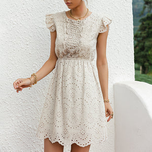 Simplee Casual Solid Cotton High Waist Dress Ruffled Hollow Stitching A-line Office Lady Dress Sleeveless Summer Woman Dress New