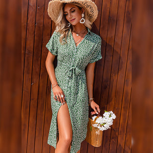 Green Print Button Midi Sundress Holiday V-neck Summer Women Dresses 2021 Casual Lace-up Ladies Elegant A-line