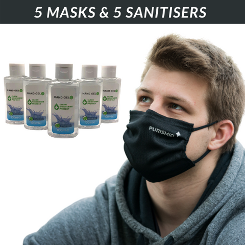 '60 Wash' Mask & Sanitiser 5 Pack - Save 50%