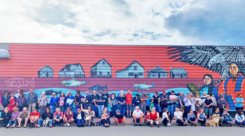 Community of hazelton helping at Leah Pipe Old Town Mural