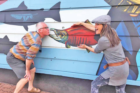 Leah Pipe and artist Mark Tworow at the Hazelton Old Town Mural