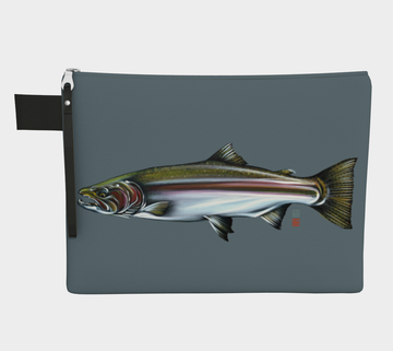 Zip pouch with Steelhead salmon painting by Canadian Artist Leah Pipe