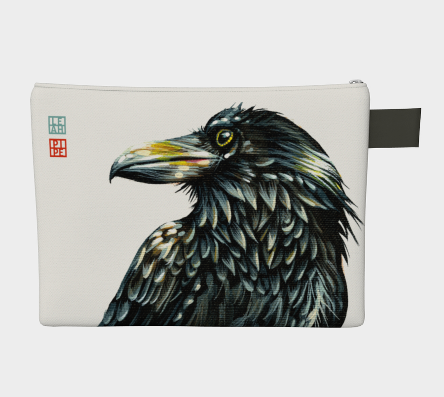 Carry-all zipper pouches featuring printed raven artwork 'The Watcher' by talented Canadian artist Leah Pipe. Denim-lined carry-alls come in 4 handy sizes to make toting and organizing almost anything effortless.