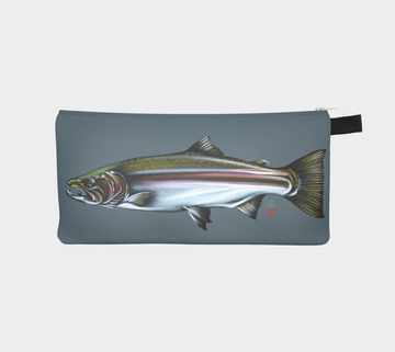 Small case with steelhead salmon painting by Canadian artist Leah Pipe