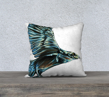 Beautiful pillowcases with raven painting by Canadian artist Leah Pipe