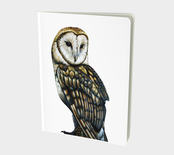 Notebook with owl painting by Canadian artist Leah Pipe