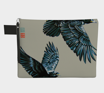 With adversity comes fortitude. There are winds we will face in our lifetime some lift us up and some pull us down. When you are facing the wind on the hill it is the wingbeat of a friend that can carry us through.  Carry-all zipper pouches featuring printed raven artwork by talented Canadian artist Leah Pipe. Denim-lined carry-alls come in 4 handy sizes to make toting and organizing almost anything effortless.