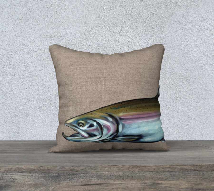 Pillow case with painting of a steelhead salmon by Canadian Artist Leah Pipe