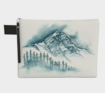 Carry-all zipper pouches featuring printed artwork of the beautiful watercolour of Hazelton mountain ranges by Canadian artist Leah Pipe.. Denim-lined carry-alls come in 4 handy sizes