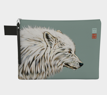 Carry-all zipper pouches featuring printed artwork 'Dreaming of a White Wolf' by talented Canadian artist Leah Pipe. Denim-lined carry-alls