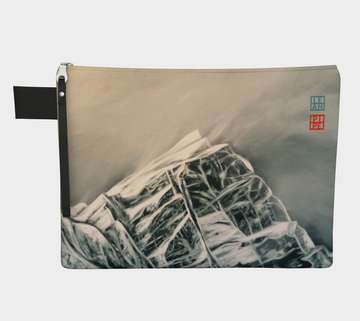 Carry-all zipper pouches featuring printed artwork by talented Canadian artist Leah Pipe. Denim-lined carry-alls come in 4 handy sizes to make toting and organizing almost anything effortless. Mountain painting 'The Difference Between Here and Above'