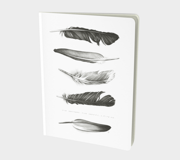 Notebook or sketchbook for writers or those who like to scribble with painting by Canadian artist Leah Pipe. Five Feathers. Book with feathers on the cover. Book with pencil drawing. Gifts for writers