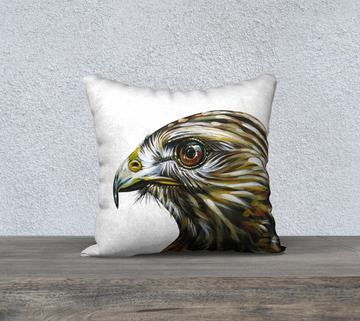 Printed pillow case with hawk image from painting by Candian artist leah Pipe