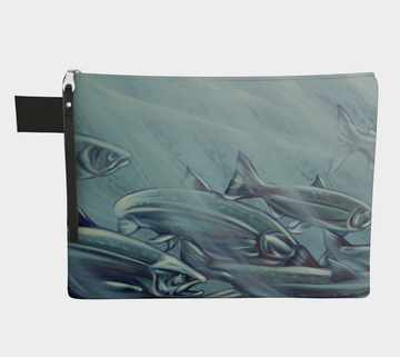 Carry-all zipper pouches featuring printed artwork of steelhead salmon swimming by talented Canadian artist Leah Pipe. Denim-lined carry-alls come in 4 handy sizes