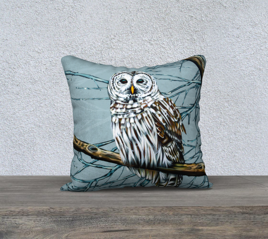 Owl pillow case by Canadian artist Leah Pipe