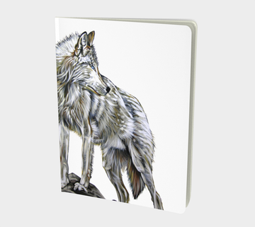 Notebook or sketchbook for writers or those who like to scribble with painting by Canadian artist Leah Pipe. The leader. A wolf painting on a book.