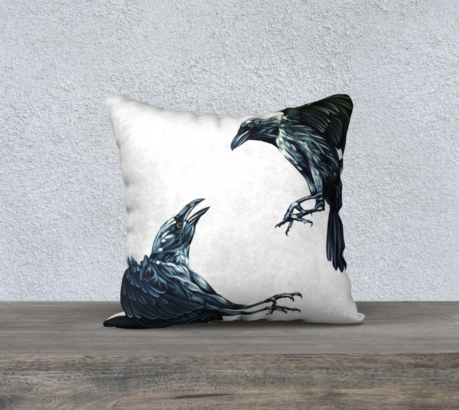 Pillow case with painting of ravens fighting by Canadian Artist Leah Pipe
